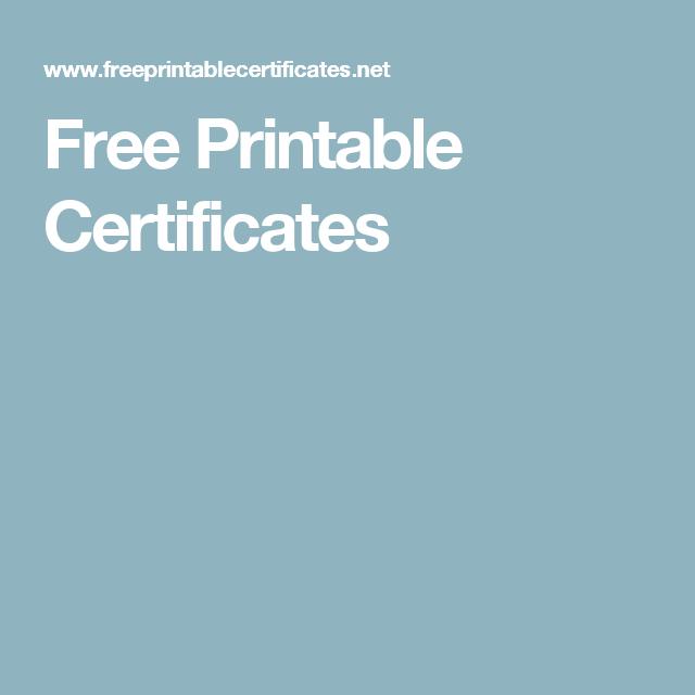 Free Printable Certificates | education | Pinterest | Free printable ...