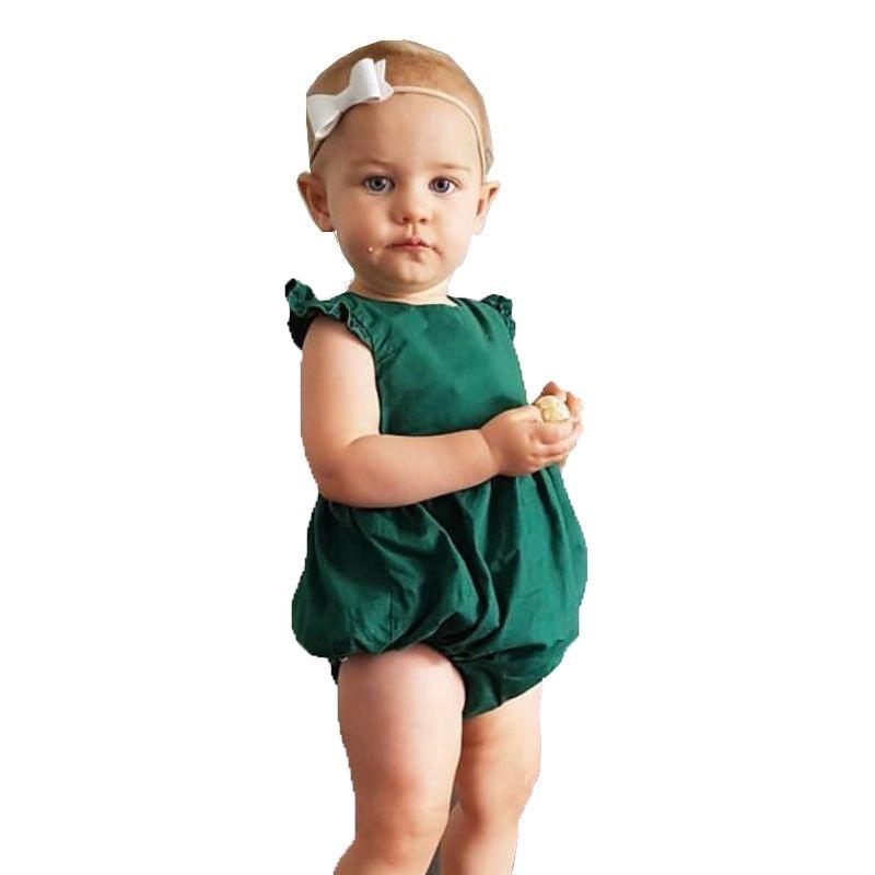 New Arrival Babies Summer Solid Bodysuits Newborn Infant Baby Girl Dark Green Bodysuit Outfit Baby Girl Clothes Summer Baby Clothes Baby Girl Outfits Newborn