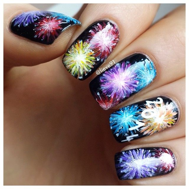 15 Amazing of July Fireworks Nail Art Designs & Ideas 2017 - Here Is My Final Manicure For This Year And Also For #nailartdec By