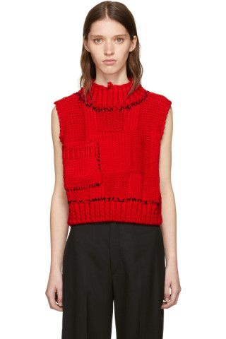 Red Blow-Up Patchwork Gilet Vest | Raf simons, Mock neck and Patchwork