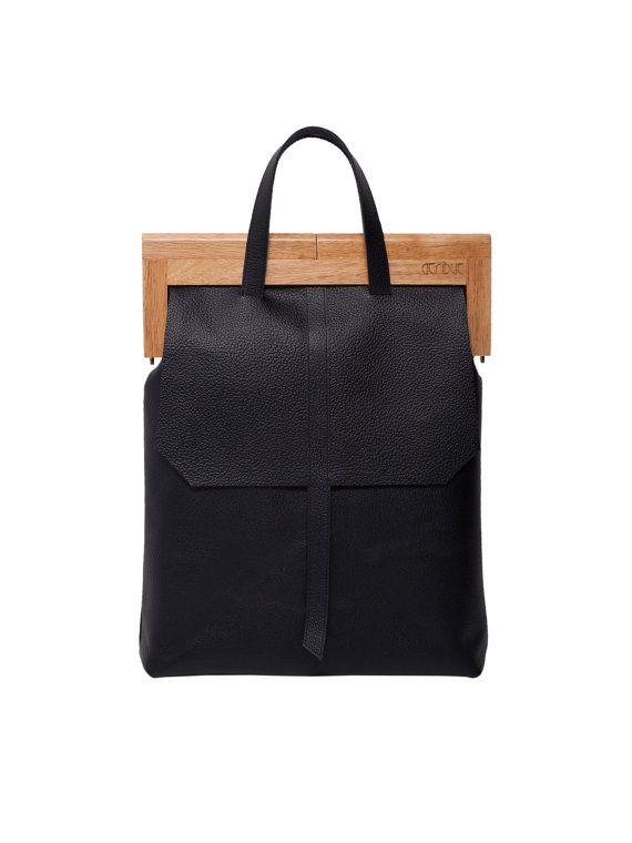 f5d0af73dce6 Black leather woodframe handbag от 1stAtribut на Etsy