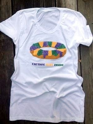 8819ce21704e8 Fleurty Girl - Everything New Orleans - Caution: Baby Inside Maternity Tee