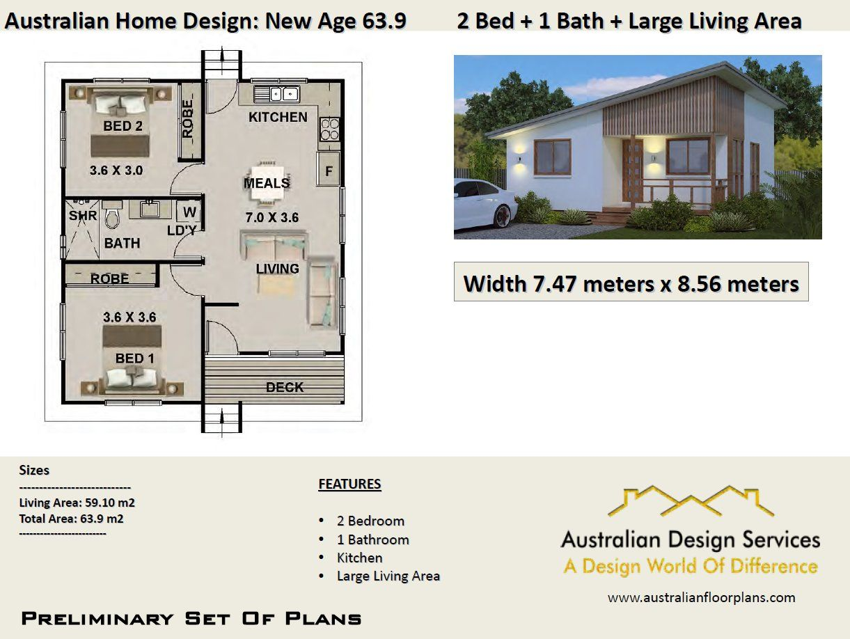 Australian 2 Bed House Plan Home Design In 2019 House Plans 2