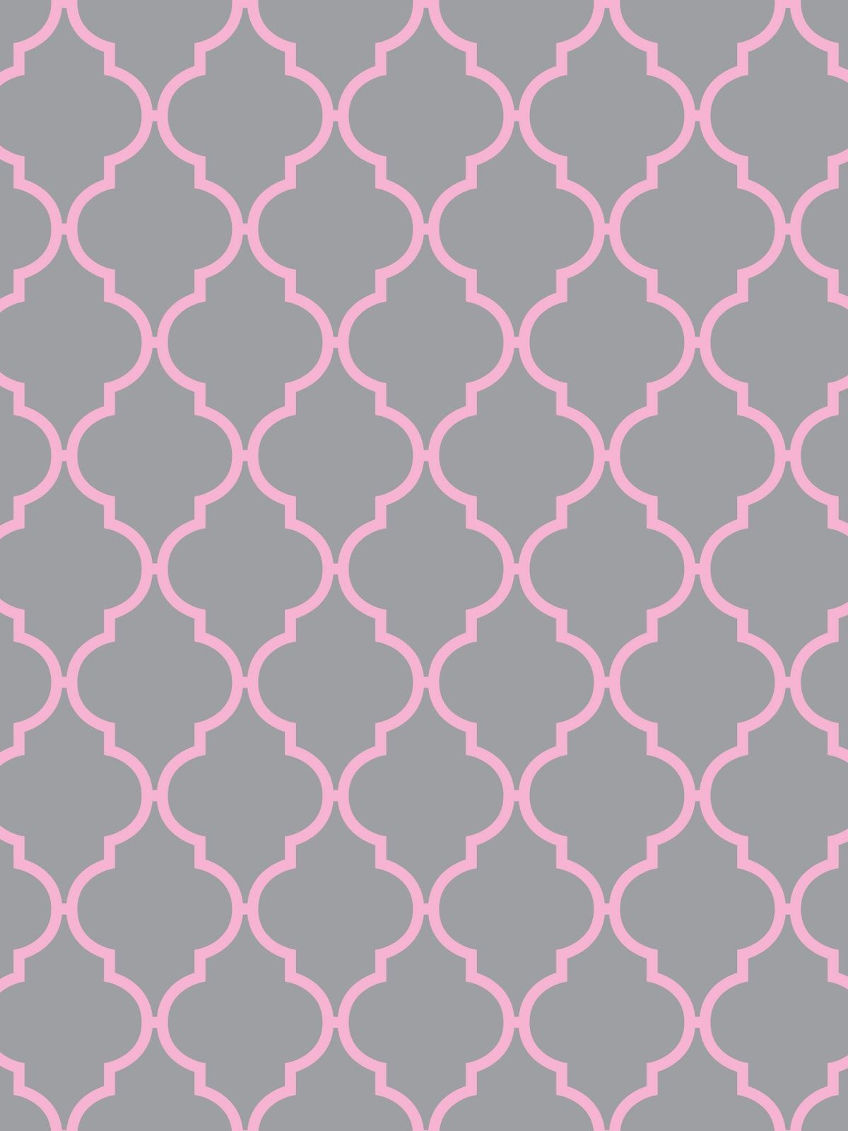 Create Printables Backgrounds Wallpapers QuatrefoilLight Gray With Yellow Aqua Pink White