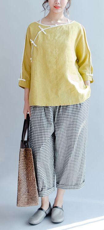 a1d19e1a9cc Yellow linen casual blouse plus size vintage shirts mandarin long ...
