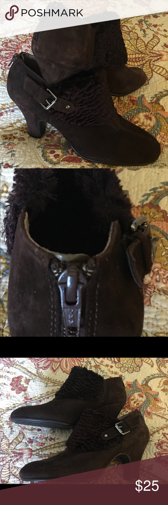 Chocolate Suede Booties Stylish,sexy and just plain ole cutie bootie AEROSOLES Shoes Ankle Boots & Booties