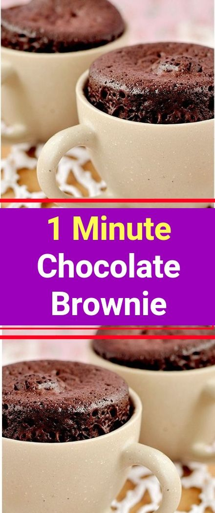 1 Minute Chocolate Brownie Minutes to Prepare: 2 Minutes to Cook: 1 Number of Servings: 1 INGREDIENTS 1 TBSP whole wheat flour 1 TBSP sugar (do not substitute) 1 TBSP unsweetened cocoa a pinch of baking soda a pinch of salt 1 TBSP of low fat vanilla yogurt, add more if needed to blend the mixture DIRECTIONS Mix all ingredients until combined in a mug. Pop it in the microwave for just #vanillayogurt