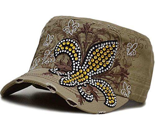 6a77a785241 Rhinestone Fleur De Lis Fashion Womens Cadet Distressed Bling Hat Cap Khaki     Visit the