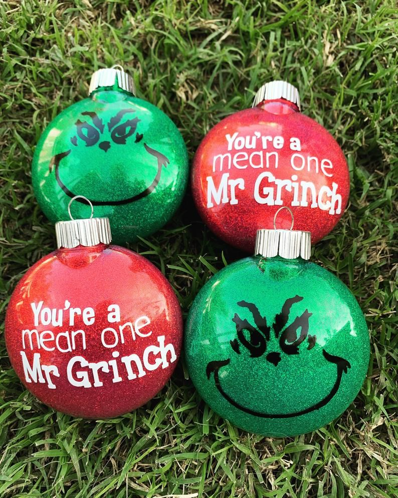 Grinch Christmas Ornaments Etsy In 2021 Grinch Ornaments Vinyl Christmas Ornaments Diy Christmas Ornaments