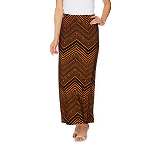 ecb25dc21 Susan Graver Printed Liquid Knit Maxi Skirt w/ Slit - Regular ...
