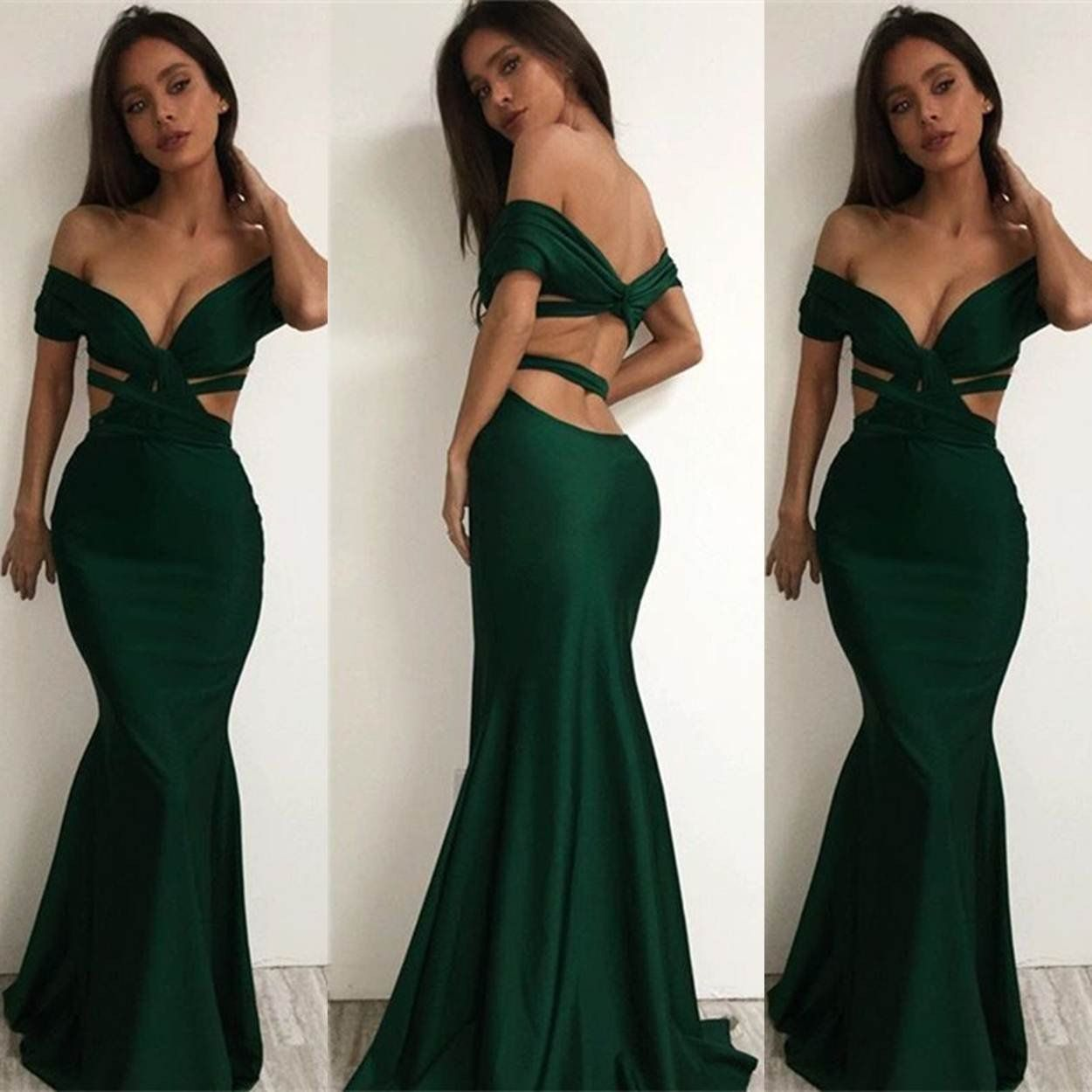 Long sexy mermaid backless prom dresses open back in