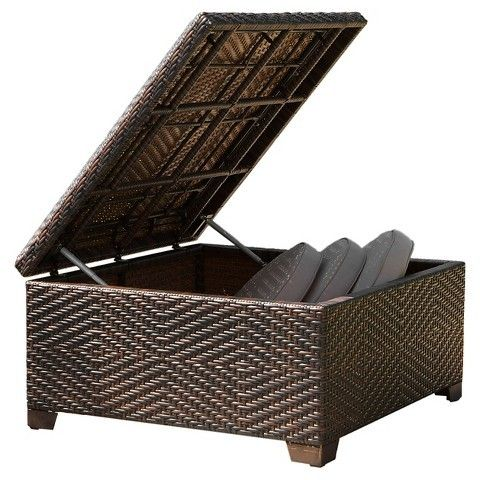 Christopher Knight Home Wicker Patio Storage Ottoman