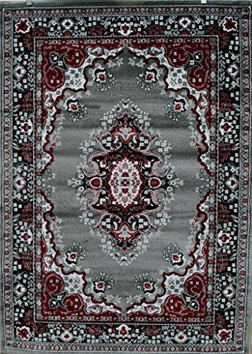 0889 Gray Black Red Gray White 7 10x10 6 Isfahan Area Rug Oriental Carpet Large New Persian Rugs Http Grey Area Rug Area Rugs Traditional Area Rugs