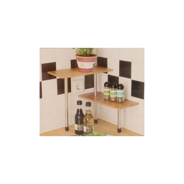 etag re murale etagere d 39 angle en bois de bambou 2 tablettes a agencemt cuisine. Black Bedroom Furniture Sets. Home Design Ideas