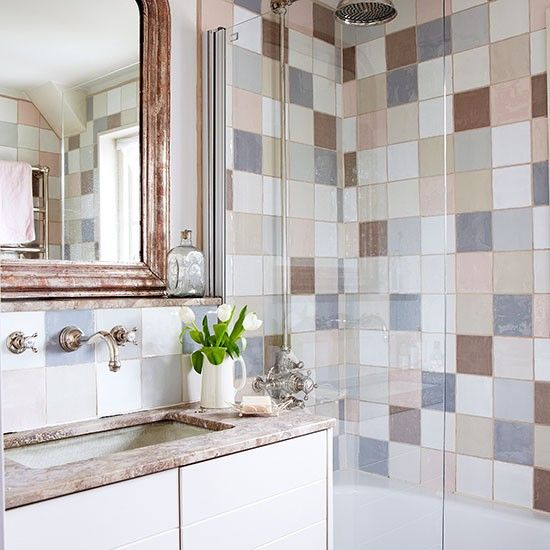 Country Bathroom With Pastel Tiles