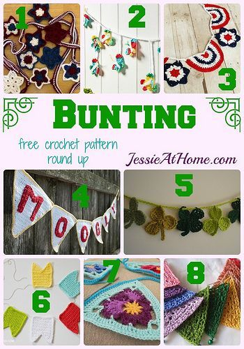 Bunting - free crochet pattern round up by Jessie At Home:   Moogly ...