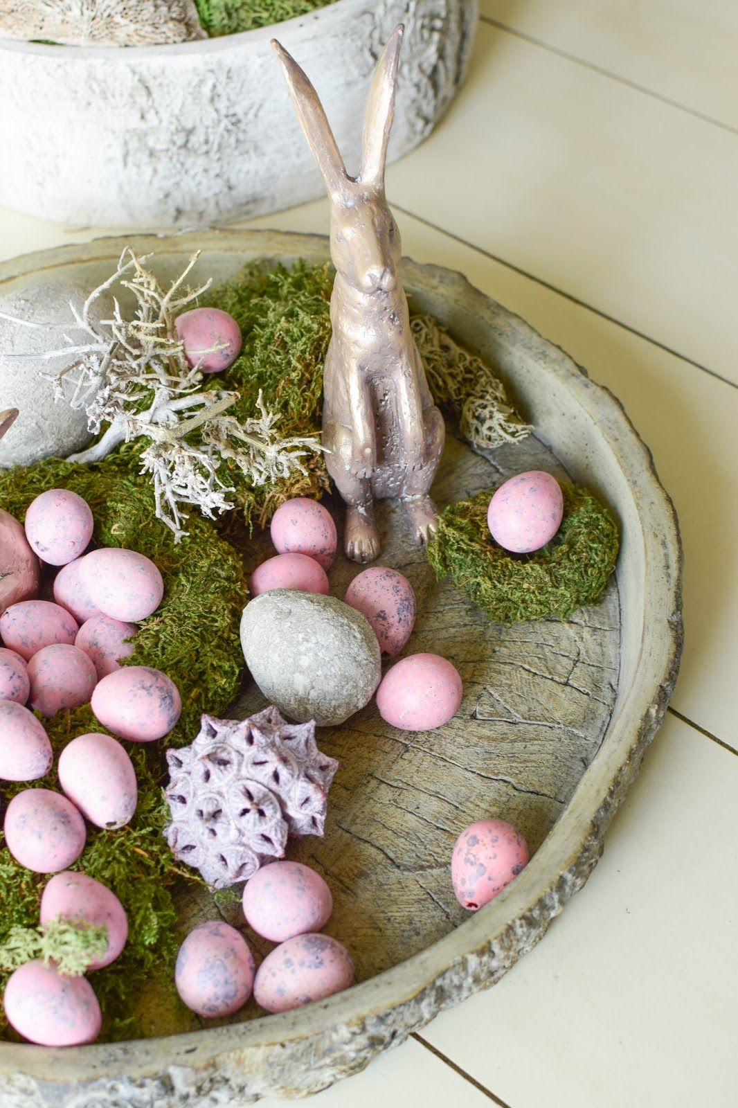 Osterdeko In Rosa Mrs Greenery Spring Easter Decor Holiday Decorations Easter Easter Bunny Centerpiece
