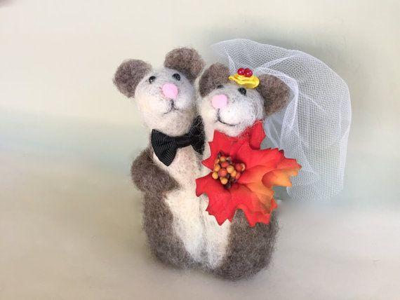 Fall wedding cake topper fall wedding decorations by Felt4Soul