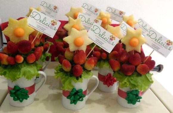 Centros de mesa para navidad arreglos bouquets arte en for Centros de mesa con frutas