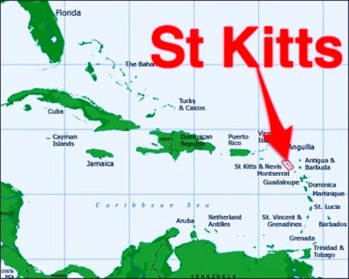 Caribbean Map showing the location of St Kitts Tuchman Beaches