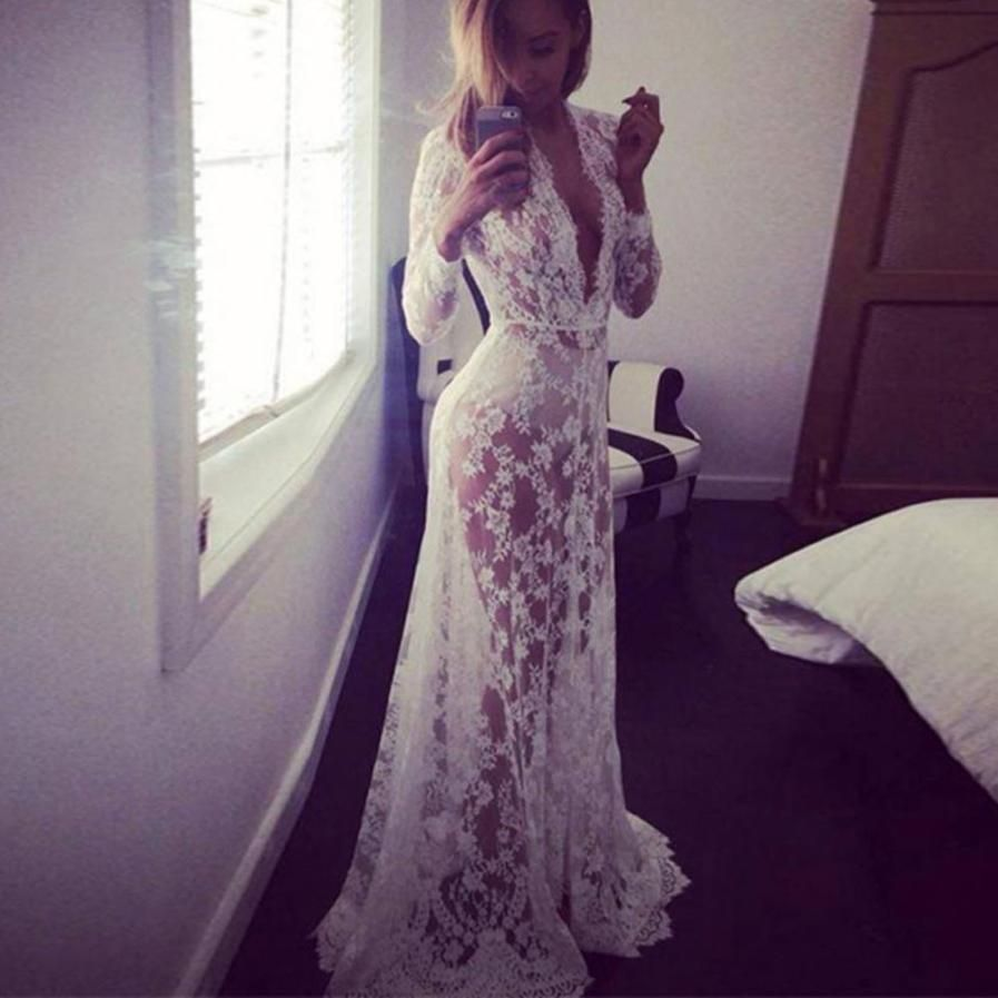 Brazil Style Women Lace Perspective Long Dress Summer Sexy Womens Deep V- Neck Boho Beach Party Dresses White Lady Maxi Dress  JO a760c8679