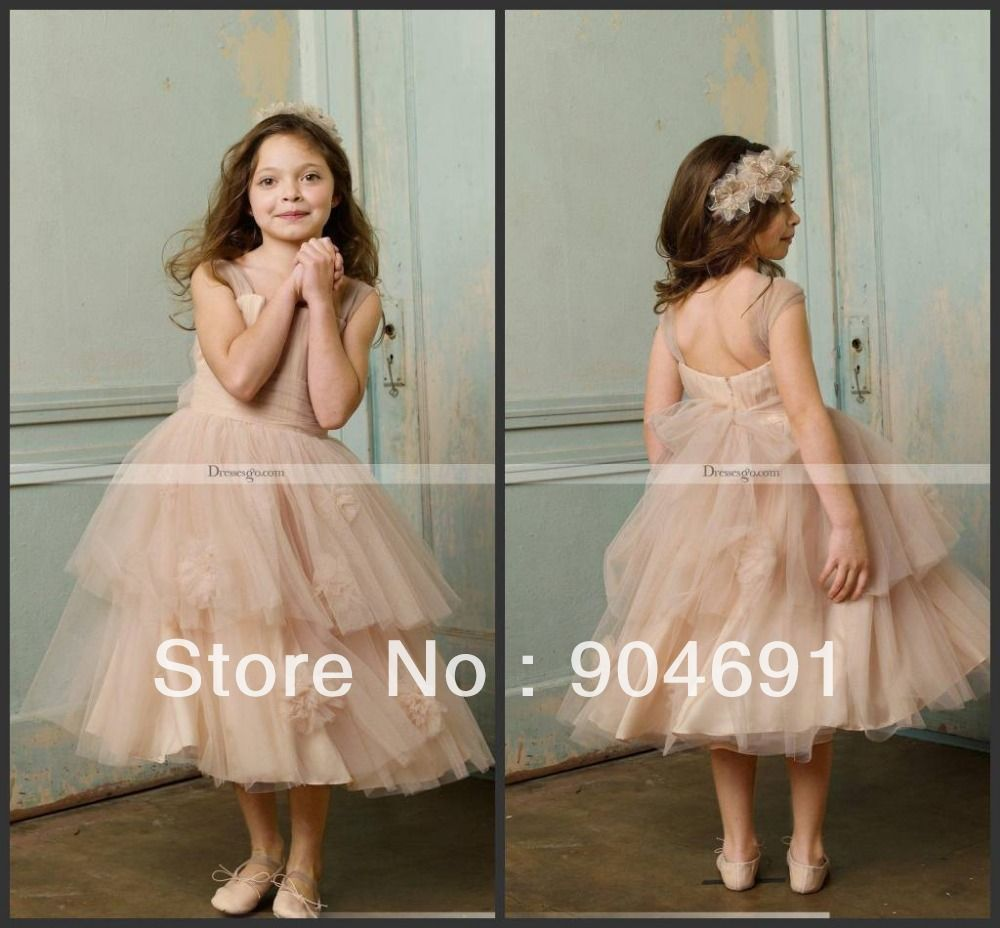 Champagne Tulle Junior Bridesmaid Dress Girl Stage Performance Gown