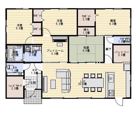 35坪5ldkプレイルームのある平屋の間取り 平屋間取り 35坪 間取り