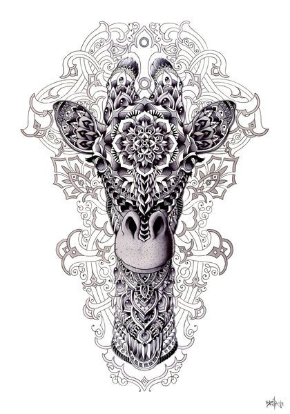 Giraffe And A Half Tattoos Giraffe Art Print By Bioworkz