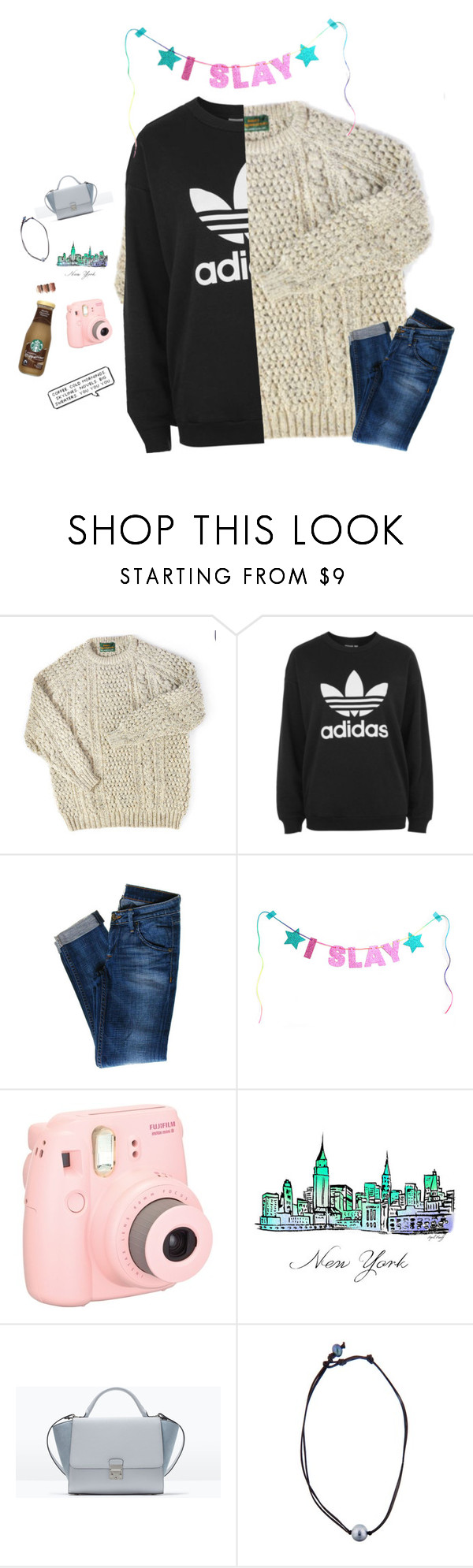 """""""opposite style challenge;city! rd!!!"""" by southernmermaid ❤ liked on Polyvore featuring adidas, Hudson Jeans, WALL, Fujifilm, Zara, tarte, Kala and country"""