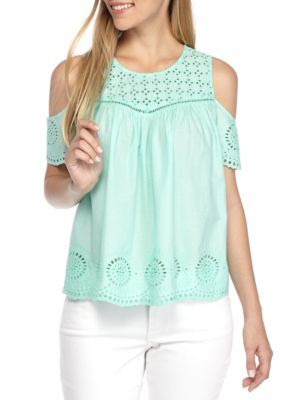 61f69e75d78 Crown & Ivy™ Eyelet Cold Shoulder Top   Products   Tops, Tunic tops ...