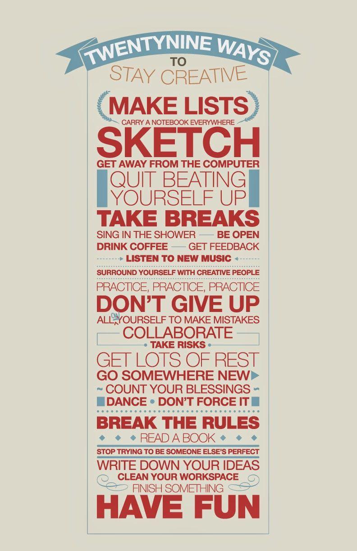 Studio8940.: 29 ways to stay creative