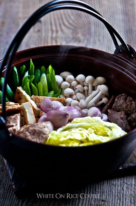 Japanese Hot Pot Recipe with Beef Sukiyaki Recipe | WhiteOnRice Couple