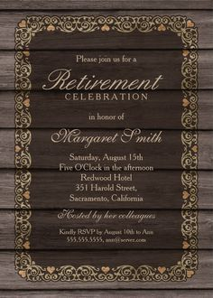 Rustic Wood Retirement Party Invitation Template  Retirement