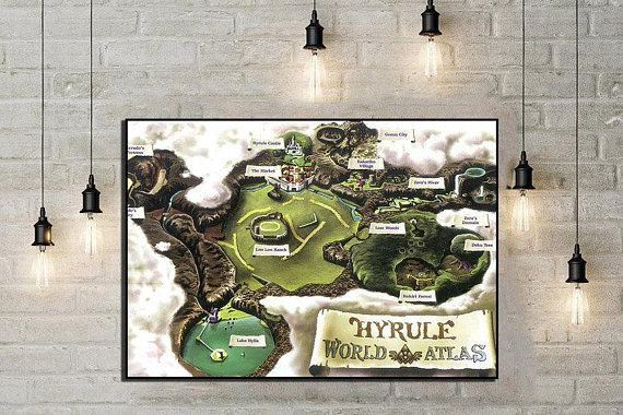 Legend of zelda poster ocarina of time hyrule map zelda gaming print legend of zelda poster ocarina of time hyrule map zelda gaming print world map game map gumiabroncs Choice Image