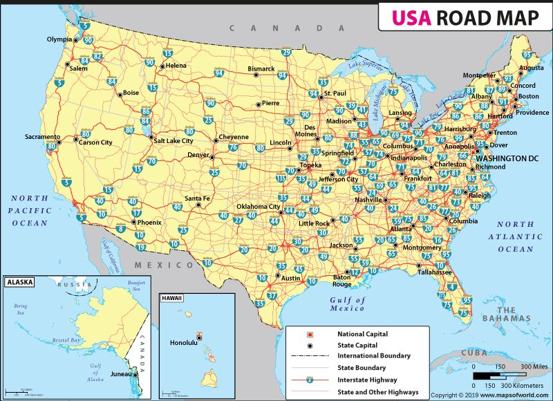 Map Of Us States Roads USA Road Map | Interstate highway map, Highway map, Usa road map