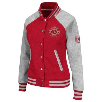 57a8f3b0 San Francisco 49ers Womens Pure Heritage V Jacket - Scarlet/Ash ...