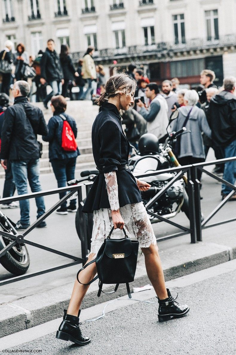 PFW-Paris_Fashion_Week-Spring_Summer_2016-Street_Style-Say_Cheese-Lace_Dress-Blazer-