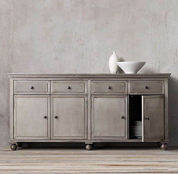 Annecy Metal Wrapped Panel Large Sideboard In Light Zinc