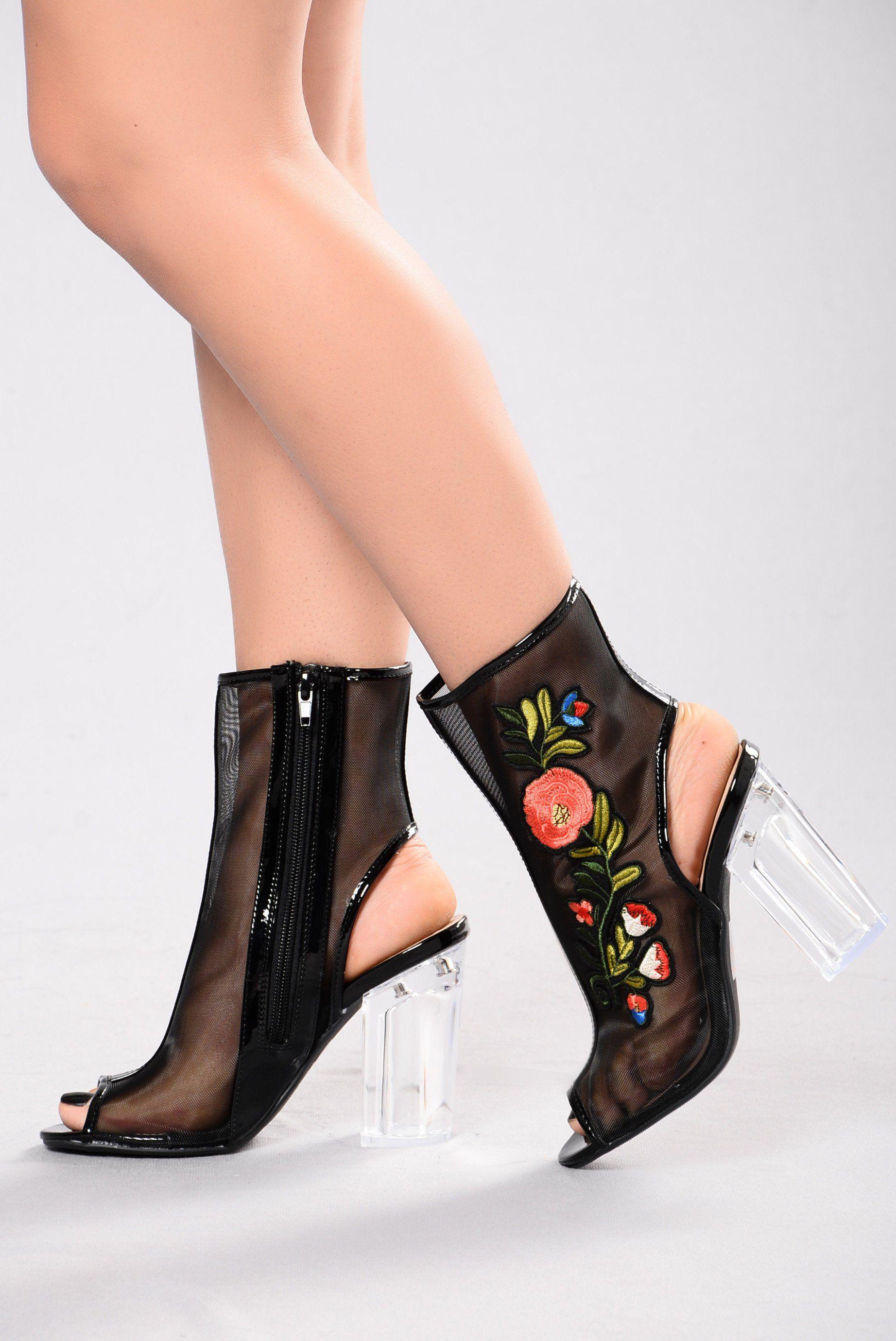 Garden clear heel black heels clear heels black heels