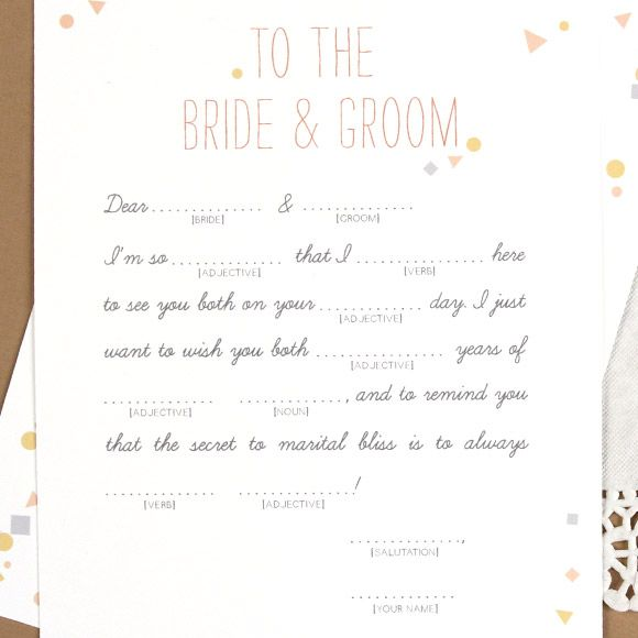 Wedding Vow Mad Libs Printable: Mad Libs For The Wedding... So Fun!!!