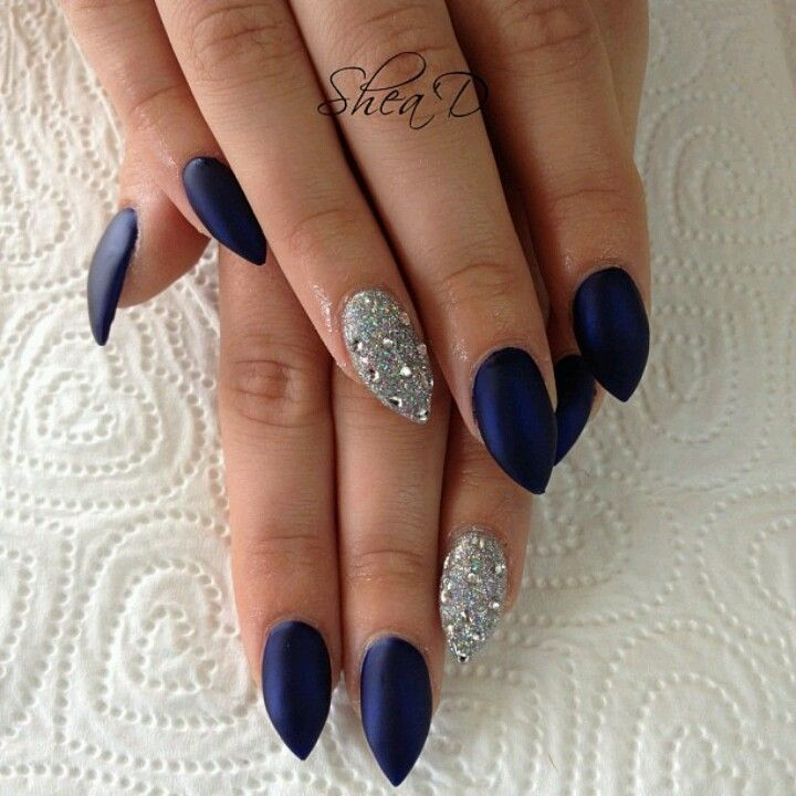 Stilleto Nail Ideas For Prom: Shad Beauty -matter Navy W/ Blinged Out Ringers. I Love
