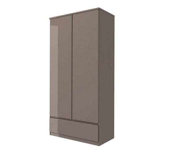 Armoires - Armoire 2 portes 1 tiroir BEST LAK taupe laqué Chambre - comment peindre un meuble laque