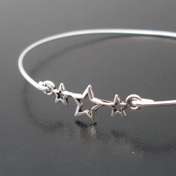 Bangle Bracelet Star Fall  Silver by FrostedWillow on Etsy, $14.95