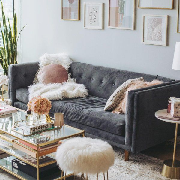 Grey Couch And Glass Coffee Table In 2020 Velvet Couch Living Room Tufted Couch Living Room Velvet Sofa Living Room
