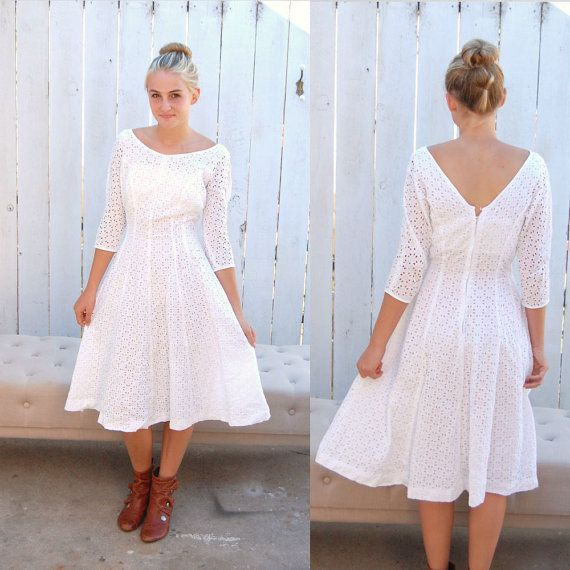Vintage White Eyelet Lace Dress Casual Wedding Rehearsal Dinner Engagement Party