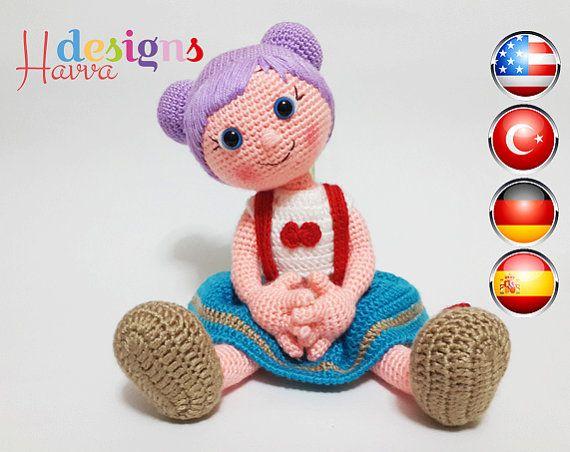 Muster lila Haaren Doll häkeln Amigurumi von HavvaDesigns auf Etsy ...
