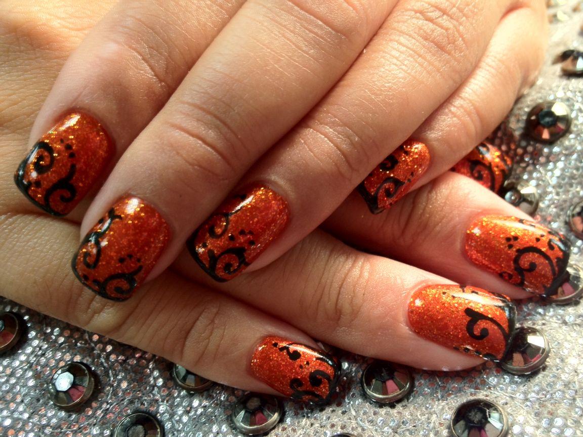Burnt Orange Glitter Black Swirls Nails By Tammy Nails Halloween Nails Nail Designs