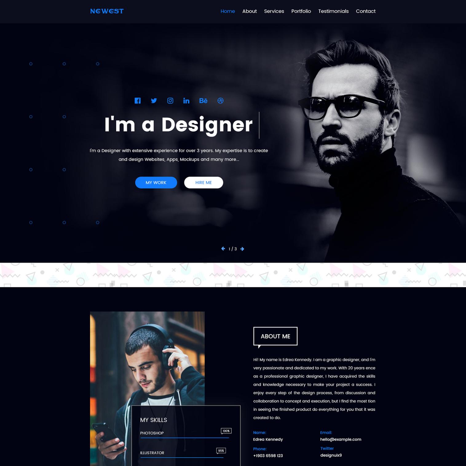 Free Personal Portfolio Template In 2020 Portfolio Web Design Portfolio Website Design Personal Website Design