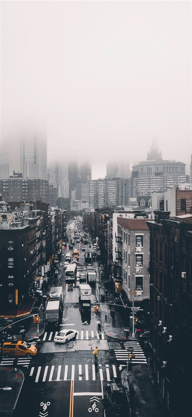 Foggy Day Iphone X Wallpaper Town City Road Building