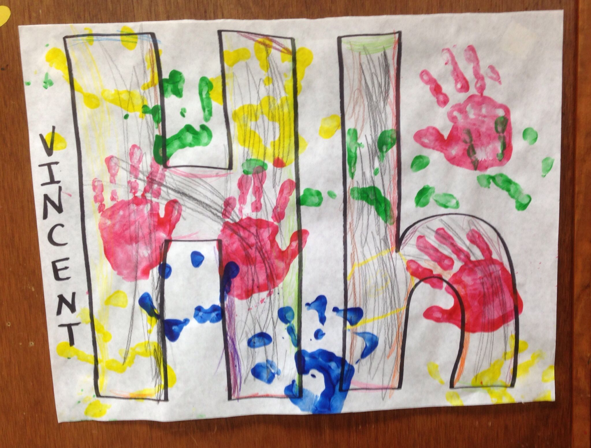 Hh Is For Hands Pre K Children Colored Their Letter H And